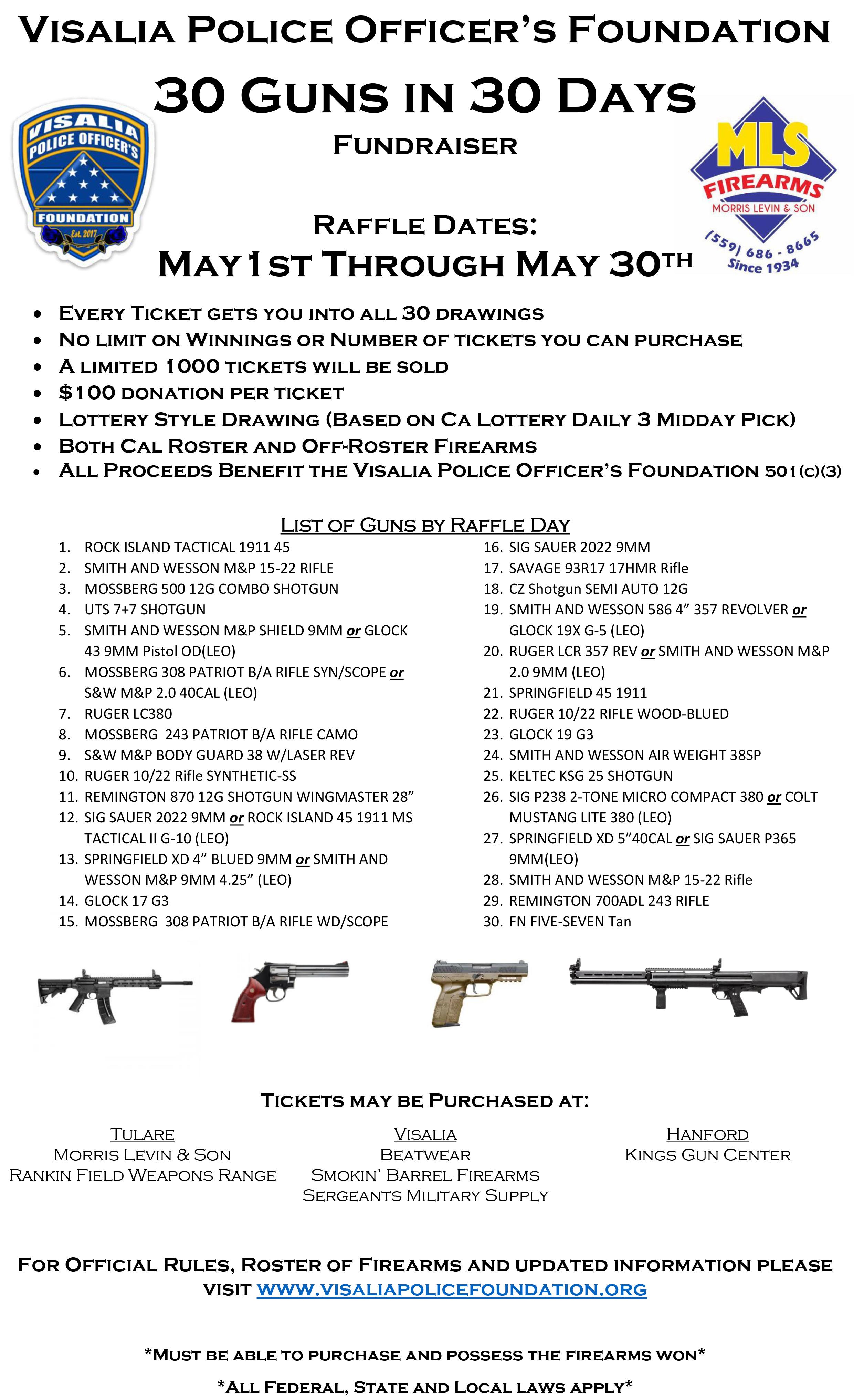 30 Guns in 30 Days Raffle – Visalia Police Officers Foundation